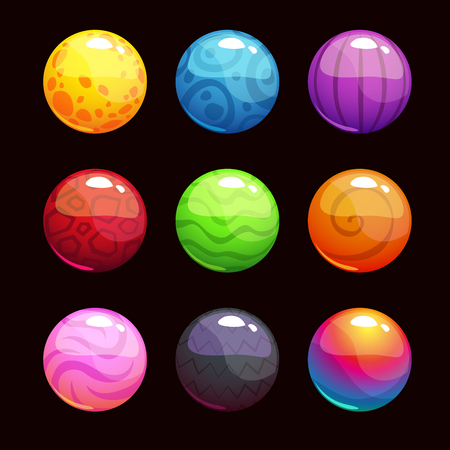 circle objects: Funny cartoon colorful shiny bubbles, vector elements for game design Illustration