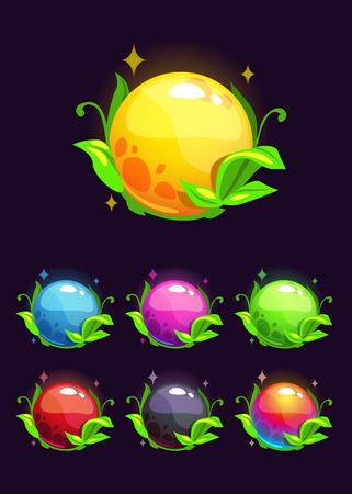 blue ball: Beautiful colorful shiny nature elements, fantasy round vector plants Illustration