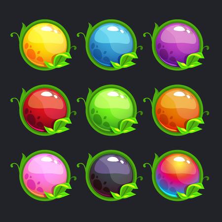 jeu: Funny cartoon rondes des boutons colorés avec des éléments de la nature, vecteur, ensemble, pour la conception de jeu