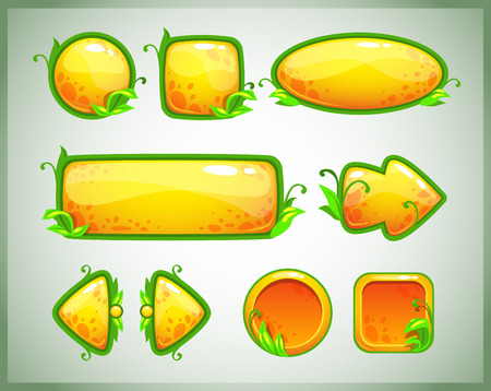 square buttons: Funny cartoon yellow game assets with nature elements, vector GUI set