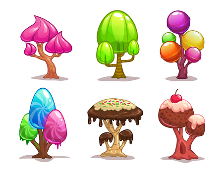 fairy cakes: Cartoon sweet candy trees, fantasy elements for game design