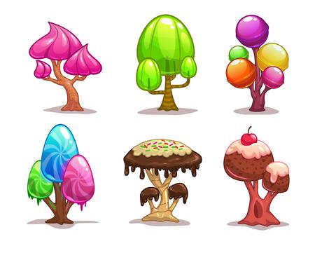 hadas caricatura: Dibujos animados árboles dulce de caramelo, elementos de fantasía para el diseño de juegos Vectores