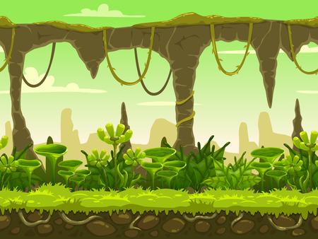 Naadloze fantasie landschap, vector spel achtergrond met gescheiden lagen voor parallax effect Stock Illustratie