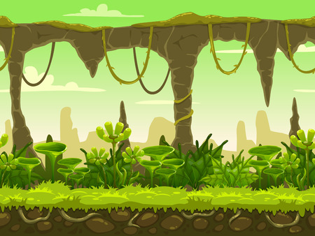 cartoon earth: Seamless fantasy landscape, vector game background with separated layers for parallax effect