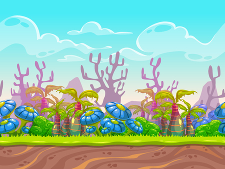 Fantasy vector landscape, alien planet nature background, separated layers for game design