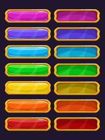 rim: Cartoon colorful buttons with golden rim, isolated vector elements for game or web design