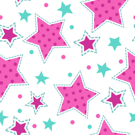 Cute girlish seamless pattern, vector texture for textile, web or typography design