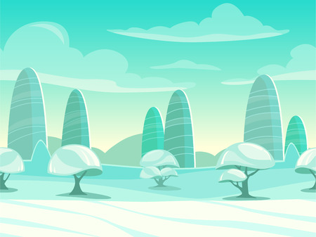 cartoon road: Funny cartoon winter landscape, seamless background for game design Illustration