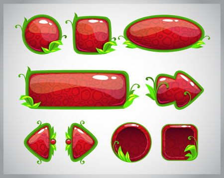 elements of nature: Cartoon red glossy buttons with nature elements, vector game assets