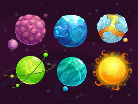 Cartoon fantasy alien planets set, funny elements for another universe design Vectores