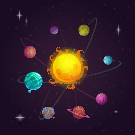conjunto: sistema solar, planetas alienígenas y estrellas, vector de espacio de la ilustración de la fantasía