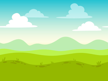 Cartoon flat seamless landscape, separated layers for parallax effect in game design Çizim