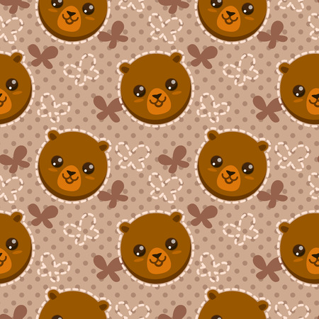 funny baby: Seamless pattern with cute cartoon brown bear faces, childish vector texture Illustration