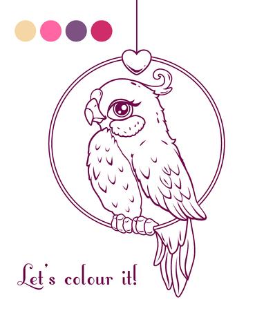 palette: Cute girl bird contour illustration, lineart for coloring book design