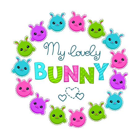 cool girl: Cute colorful kids illustration with bunny faces, vector template for t-shirt design Illustration