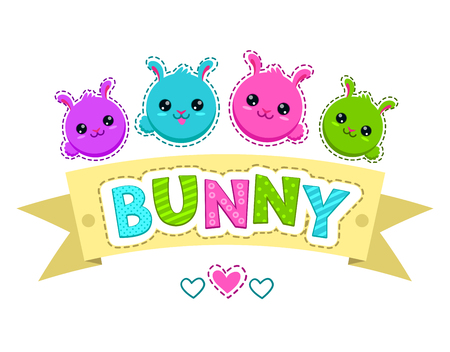 emotions faces: Cute colorful kids illustration with bunny faces, vector template for t-shirt design Illustration