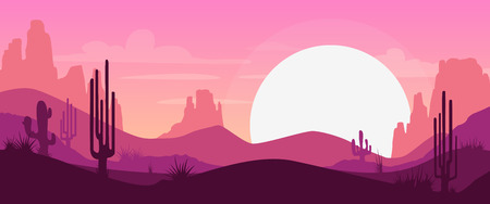 horizon: Cartoon desert landscape with cactus, hills and mountains silhouettes, vector nature horizontal background