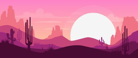horizonte: Paisaje del desierto de dibujos animados con cactus, colinas y montañas siluetas, vector de fondo de naturaleza horizontal