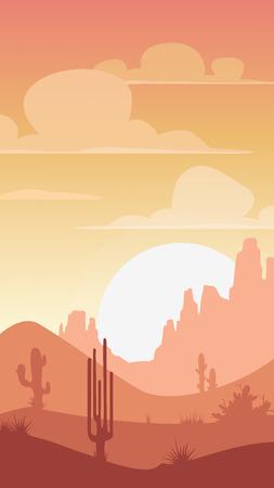 arizona: Cartoon desert landscape, sunset silhouette illustration, vertical format for mobile phone screen
