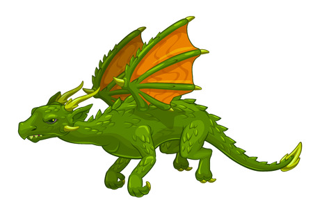 caricatura mosca: Dragón verde dibujos animados de fantasía, aislado en blanco, ilustración vectorial