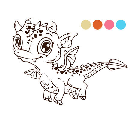 Cute cartoon flying baby dragon, contour illustration for coloring book Illustration