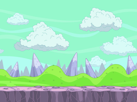 Seamless cartoon nature landscape, vector outdoor illustration, endless game background with separated layers for parallax effect