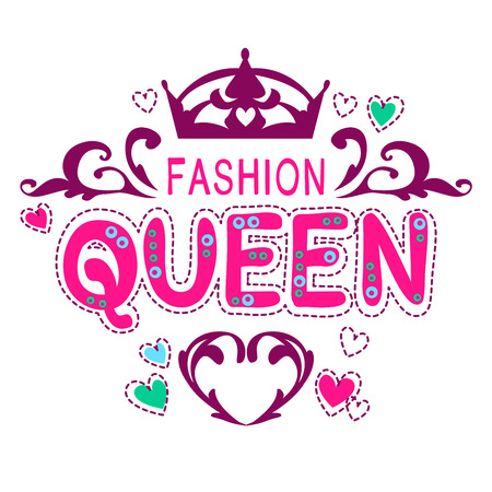 Glamour vector girlish print, fancy fashion queen lettering, vector template for t-shirt design Çizim