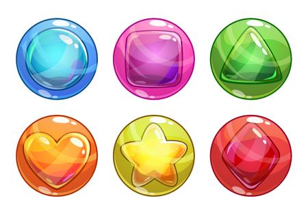 pelota caricatura: Dibujos animados burbujas de colores con diferentes formas en el interior, aislado en blanco