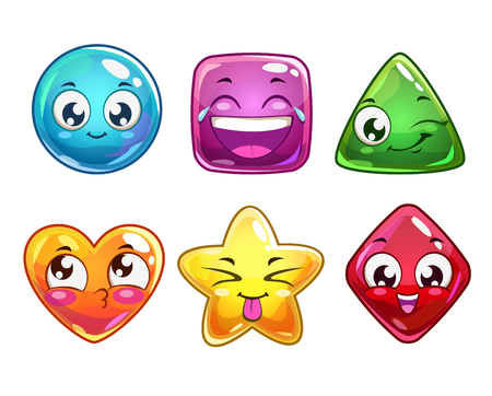 niños sonriendo: Divertidos personajes iconos del vector de dibujos animados, figuras de colores brillantes para el diseño de interfaz gráfica de usuario, aislado en blanco