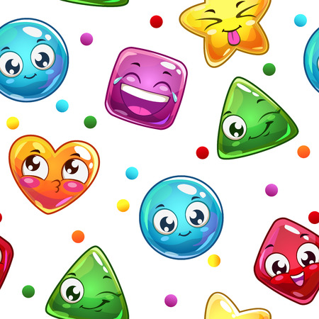 mobile application: Seamless pattern with funny colorful faces on white, vector texture Illustration
