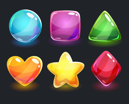 glitter heart: Cool shiny glossy colorful shapes, vector assets for gui design