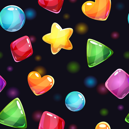 Jelly: Seamless pattern with glossy shiny shapes, vector texture Illustration
