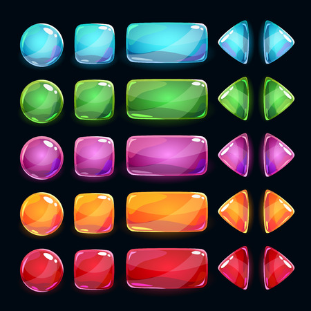 triangle objects: Colorful glossy buttons set on dark background, vector assets for game or web design