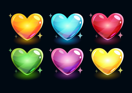 space cartoon: Cartoon glossy hearts set, vector shiny icons on dark background