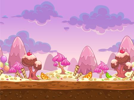 golosinas: Cartoon dulce tierra de dulces ilustración perfecta, paisaje vector de la fantasía con capas separadas para efecto de paralaje