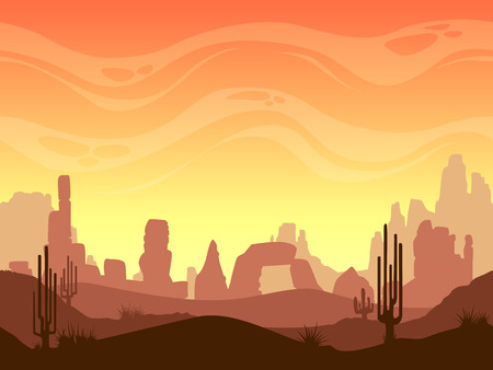 Seamless cartoon desert landscape, vector layered game background for parallax effect Vectores