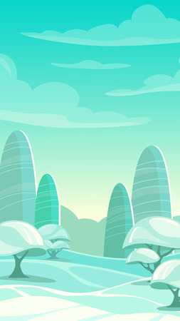 trees  sky: Cartoon winter landscape, vertical arctic background, mobile phone screen size