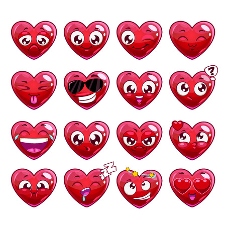 Funny cartoon heart character emotions set, vector icons, isolated on white Illustration