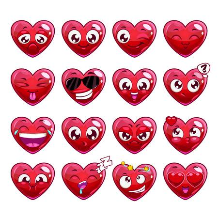 Grappige cartoon hart karakter emoties set, vector iconen, geïsoleerd op wit Stock Illustratie