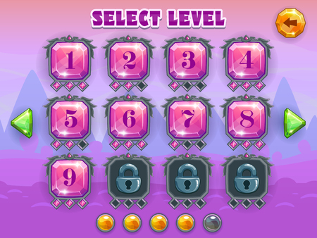 levels: Cartoon level selection game screen, vector crystal games assets on fantastic background