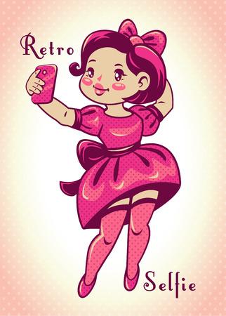Cute comic vector retro style illustration, funny vintage pretty girl making selfie Illustration