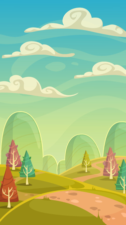 earth road: Funny cartoon nature landscape, sunny day vector illustration, vertical size background for mobile phone screen