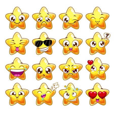 Funny cartoon star character emotions set, vector icons, isolated on white Illustration