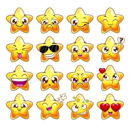 divertido: Emociones divertidas estrella de dibujos animados conjunto de caracteres, iconos vectoriales, aislado en blanco