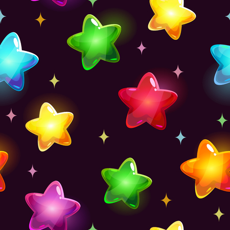 xp: Seamless holiday pattern with beautiful glossy colorful stars on dark background, vector texture