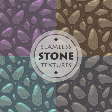 paving stone: Stone vector textures set, cartoon ground seamless patterns collection for game design Illustration