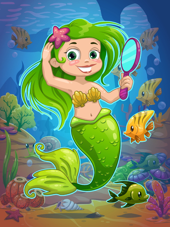 child girl nude: Cute cartoon mermaid with long green hair and mirror in her hand on the sea bottom, underwater vector illustration