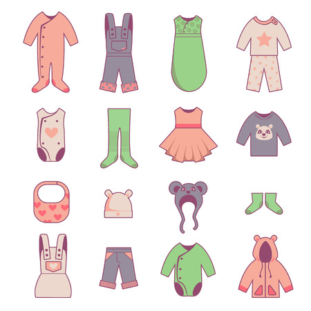 sweet baby girl: Baby cloth icons set, vector kids dress, isolated on white Illustration