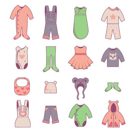 moda ropa: Iconos de tela bebé fijados, cabritos se viste vector, aislado en blanco