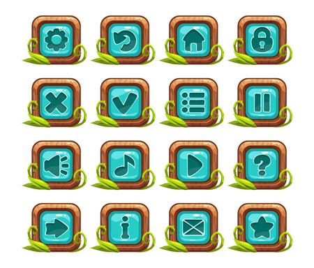 selva caricatura: De dibujos animados de menú de botones cuadrados ajustado con medio azul y la decoración de la hierba, aislado en blanco Vectores